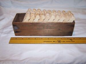 57 Vintage Wood Clothes Pins In Antique Wood Cheese Box Farm House Laundry Decor