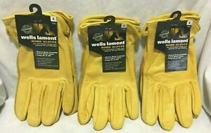 Lot Of 3 Wells Lamont Leather Work Gloves Large Men s 3 Pack