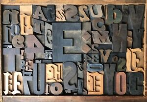 Antique Letterpress Printers Wood Type Mix 57 Pieces