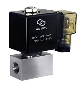 High Pressure Stainless Zero Differential Solenoid Valve Nc 1 4 Inch 24v Ac
