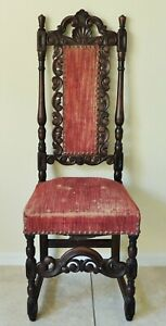 Antique Vtg Spanish Revival Gothic Van Sciver Carved Mahogany Side Accent Chair
