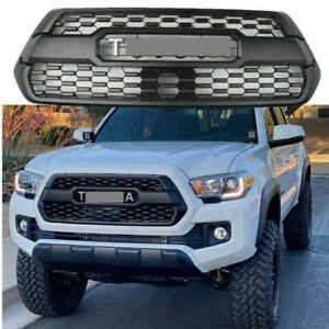 New Black Front Bumper Grille Fit For 2016 2019 Tacoma Hood Grill W Letters