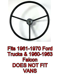 Gloss Black Steering Wheel For 1961 1970 Ford Pickup Truck 1960 1963 Falcon