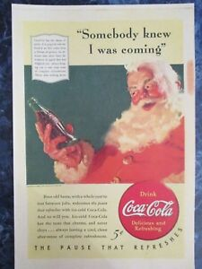 Vintage Coca Cola 1940 Christmas  Ad Store Sign