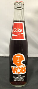 COCA COLA GLASS BOTTLE VINTAGE 1985 UNIVERSITY OF TENNESSEE LIMITED EDITION