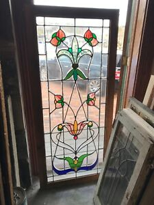 Sg 3047 Antique Beveled And Stained Glass Landing Window 28 1 2 X 64