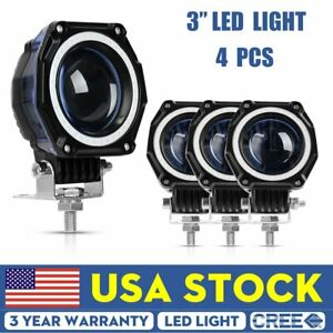 4x 3inch Cree Led Work Light Cube Pods Driving 160w Flood Offroad Bumper Suv Atv