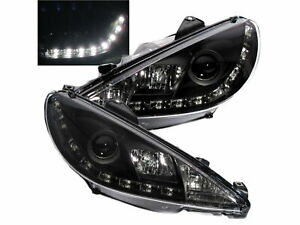 206 206 Cc 2002 2009 Facelift Drl Led Bar R8look Headlight Black For Peugeot Lhd