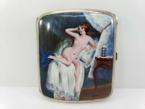 Vintage Silver Plated Hand Painted Nude Enamel Cigarette Case