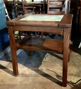 Reproduction Stickley Arts Crafts Mission Style Green Tile End Table