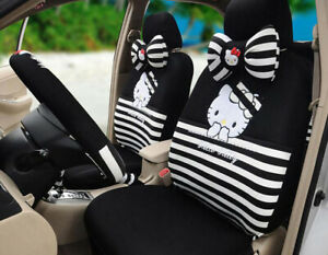 18ps set Hello Kitty Cute Cartoon Car Seat Covers 3d Mesh Universal Black Tl 47k