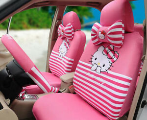 New 18ps set Hello Kitty Cute Cartoon Car Seat Cover 3d Mesh Universal Pink 48k