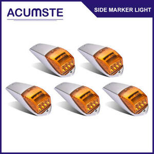 5x 17 Led Amber yellow Cab Roof Clearance Tail Light W chrome Base Truck Trailer