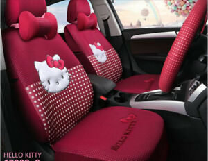 1 Set Luxury Hello Kitty Cute Universal Cartoon Car Seat Cover Cotton Rose Red
