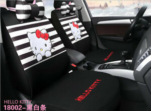 New Set Hello Kitty Cute Universal Cartoon Car Seat Covers Cotton Black