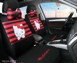 New Set Hello Kitty Universal Cute Cartoon Car Seat Covers Cotton Black Red