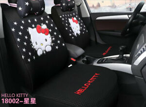 New Sets Hello Kitty Universal Cute Cartoon Car Seat Covers Cotton Black Star