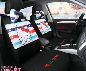New Set Hello Kitty Universal Cute Cartoon Car Seat Cover Cotton Black Starlight