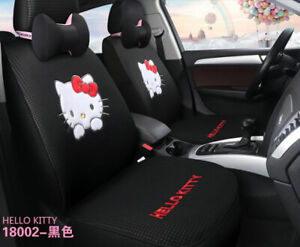 New 1 Set Hello Kitty Woman Cute Cartoon Car Seat Cover Universal Cotton Black