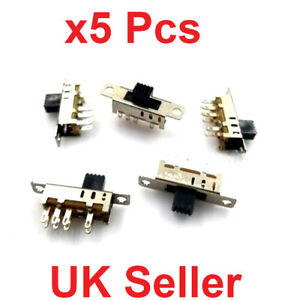 X5 Pcs 8 Pin 3 Position Slide Switch 2p3t Dp3t Pcb Mount Mini Vertical Toggle