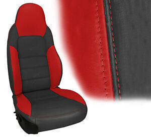2005 2011 Corvette Z06 Inspired Leather Sport Seat Cover Ebony Torch Red
