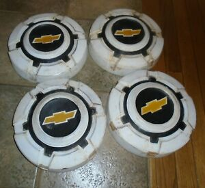 1969 72 Chevrolet Truck Painted White Black Hubcaps Set Of 4 Dog Dish