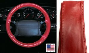 Red Genuine Leather Steering Wheel Grip Cover Axx For Chevy Other Makes