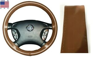 Tan Genuine Leather Steering Wheel Cover Grip Size C For Saturn Volkswagen