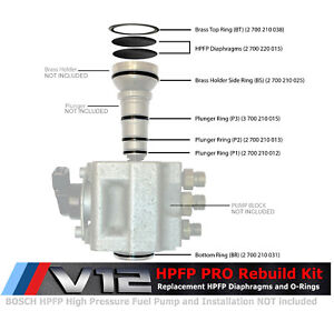 Pro Hpfp Rebuilding Kit For Bmw Phantom V12 N73 Bosch High Pressure Fuel Pump