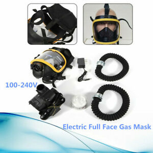 Electric Supply Air Fed Full Face Gas Mask Constant Flow Respirator Free Ship