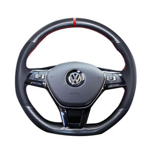 Carbon Fiber Hole Leather Steering Wheel Hand Sewing Wrap Cover Fit For Vw Polo
