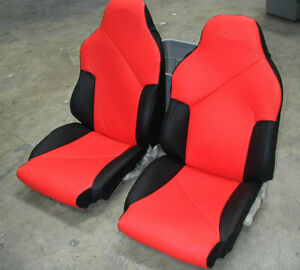 Chevy Corvette C4 Sport 1994 1996 Black Red S Leather Custom Fit Seat Cover