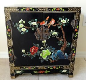 Large Antique Vtg Chinese Black Lacquer Jewelry Box Chest Cabinet Side End Table