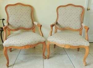 Pair Ethan Allen French Bergere Louis Xv Style Flower Accent Arm Chairs Set Of 2