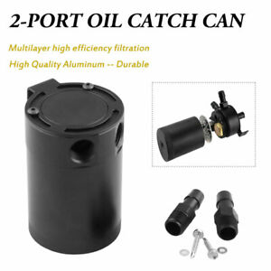2 port Oil Catch Can Tank Baffled Separtor Racing Aluminum Universal Black