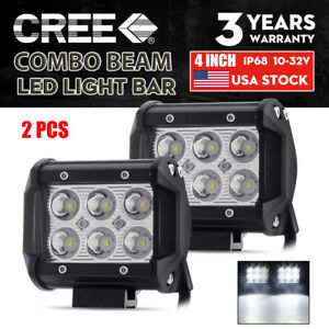 Pair 4 Led Work Light Bar Pods Combo Fog Driving Offroad Suv Atv Utv Truck Car