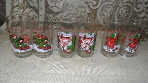 SET OF 6 VINTAGE COCA COLA CHRISTMAS HOLLY HOBBIE DRINKING GLASSES SET LTD EDIT
