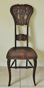 Antique Vtg North Wind Solid Mahogany Carved Figural Face Side Accent Desk Chair