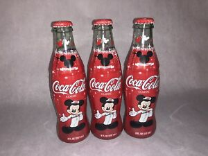 3 Coca Cola Mickey Mouse 75 inspEARations Limited Edition bottles RARE