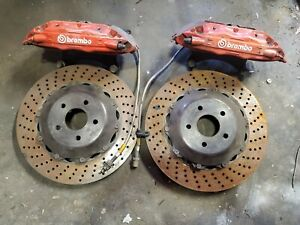 Brembo Front Gt Brake 4p Caliper Red Drill Disc For Wrx Sti Legacy Gt 5x100