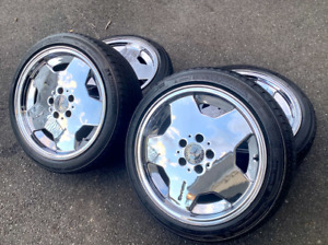Mercedes Vintage Authentic Amg Arrows 17 Inch Rims Chrome Wheels Set4 124 126