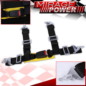 2 Black Yellow 4 Point Pt Harness Shoulder Racing Seat Belt Latch Clip Strap