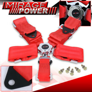 3 Wide Red Shoulder Harness 5 Point Camlock Cam Lock Race Seat Belt X1 Upgrade