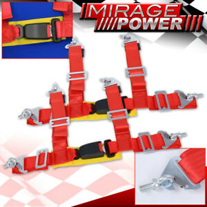2x Red 4pt Seat Belt Harness W Gold Strap Buckle Quick Latch Adjustable