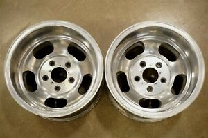 Vintage Us Indy 15 X 10 Slotted Aluminum Mag Wheels Slot 5 On 5 Chevrolet Truck