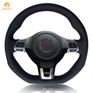 Black Leather Steering Wheel Cover For Vw Golf 6 Gti Mk6 Polo Scirocco R zw17