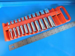 Used snap On 3 8 Dr Short Deep 6pt Socket Sets matco Tray 1 4 7 8 In 23 Pc