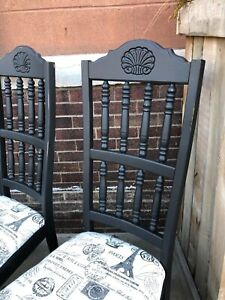 6 Vintage Wood Dining Chairs High Back Black Dining Chairs