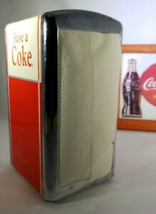 Vintage Coca Cola Napkin Dispenser Metal 1992 Red Silver Ivory and Framed Pic