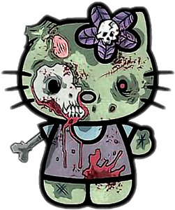 Hello Kitty Zombie Vinyl Sticker For Skateboard Luggage Laptop Tumblers M